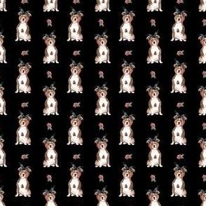 "1.5"" Pit Life - Red Pitbull - Black Floral"