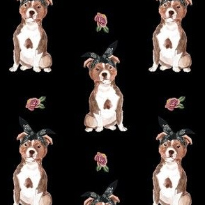 "4"" Pit Life - Red Pitbull - Black Floral"