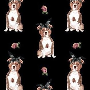 "4"" Pit Life - Red Pitbull - Black Floral"
