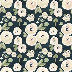 Nude Navy Blush Modern Moody Dramatic Florals