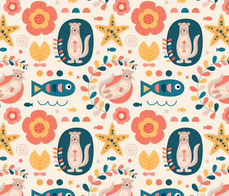 Otter-flowers fabric by la_fabriken on Spoonflower - custom fabric