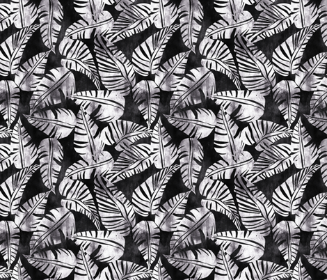 LaniKai leaf B_W fabric by schatzibrown on Spoonflower - custom fabric
