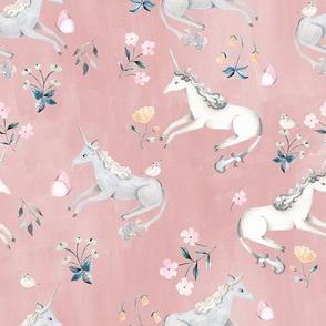 Blush Hand Painted Unicorns / Floral Unicorn Fabric/ Blush Unicorn