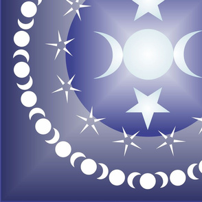 Triple Moon Goddess in Blue - Multisize