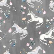 Grey Hand Painted Unicorns / Floral Unicorn Fabric/ Blush Unicorn