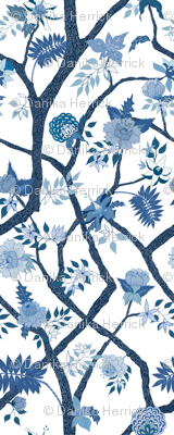 Smaller Scale Peony Branch Mural- Blues