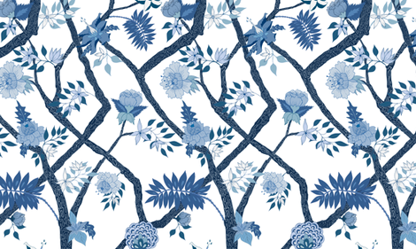 Smaller Scale Peony Branch Mural- Blues fabric by danika_herrick on Spoonflower - custom fabric