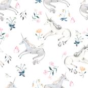 LARGE White Hand Painted Unicorns / Floral Unicorn Fabric/ Blush Unicorn