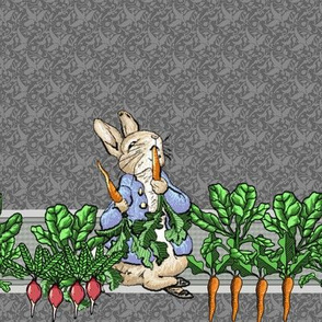Peter Rabbit Border Print with Muted Red Radishes
