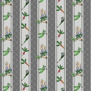 Peter Rabbit Veggie Stripe Modern Gray - Muted Reds