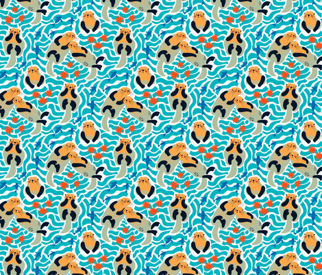 Sea otters fabric by solnca_lych on Spoonflower - custom fabric