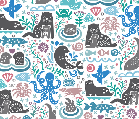 Otter Life at Bering Strait fabric by studio_amelie on Spoonflower - custom fabric