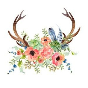 "6"" Floral Peach and Navy Antlers"