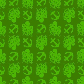 small octopus and anchors green on green