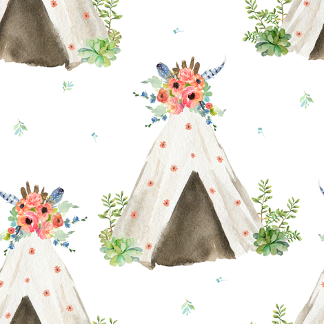 "8"" Peach and Navy Teepee fabric by shopcabin on Spoonflower - custom fabric"