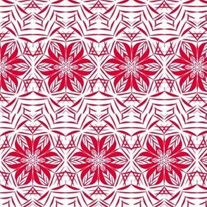 Jazzy Deco Star-Flowers Chevron Border Stripe - Small Scale
