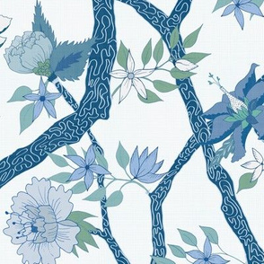 Smaller Scale Peony Branch Mural in blues and greens