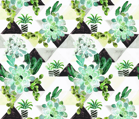 Succulent on Triangles fabric by crystal_walen on Spoonflower - custom fabric