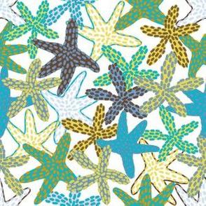 Aqua-Yellow Starfishes Galore (white)
