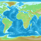 World map, topographic yd