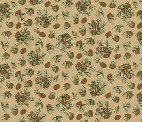 Pine cones Tan fabric by phyllisdobbs on Spoonflower - custom fabric