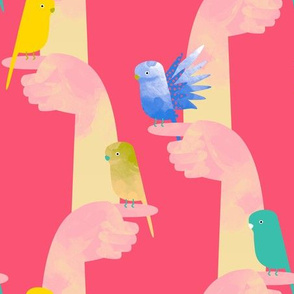 Budgies on fingers fabric