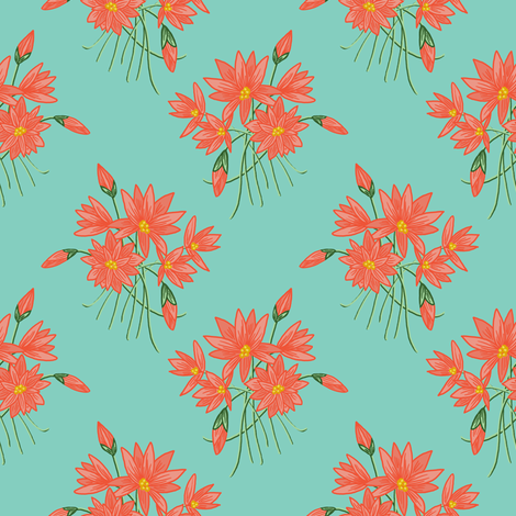 Lotus for Otters (lacite green) N1 fabric by helenpdesigns on Spoonflower - custom fabric