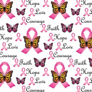 Faith Hope Love Courage Pink Ribbons