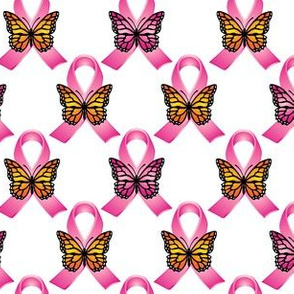 Rose Pink Ribbons & Butterflies