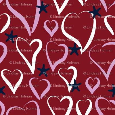 Hearts & Stars - Orchid, Navy, Burgundy, White #1