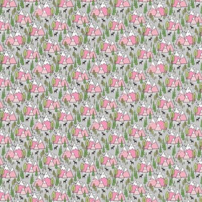 Mountains Forest Woodland Trees & Moose Pink on Grey Tiny Small