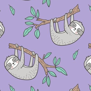 Sloth Sloths on Tree Branch with Leaves on Lavender Purple