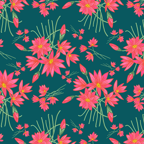 Lotus for Otters (shaded spruce) N2 fabric by helenpdesigns on Spoonflower - custom fabric