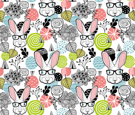 Rabbits fabric by panova on Spoonflower - custom fabric