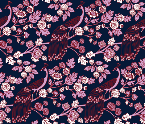 Peacock Garden {Navy/Orchid} fabric by ceciliamok on Spoonflower - custom fabric
