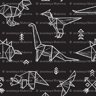 Black and white origami dinos