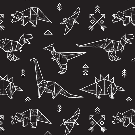 Black and white origami dinos fabric by penguinhouse on Spoonflower - custom fabric