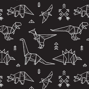 Black and white origami dinos