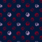 polka dot from wine cork on navy