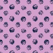Navy polka dot on pink