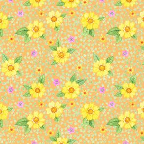 Gelbe Blumen auf Orange