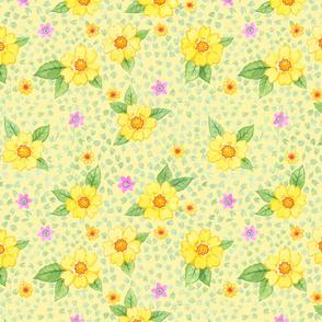 Gelbe Blumen auf Gelb
