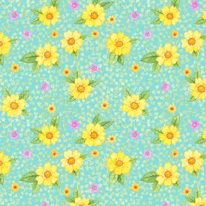 Gelbe Blumen auf Grün