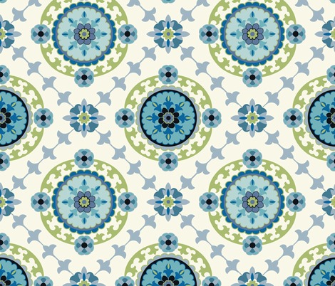 Suzani Teal fabric by barbarapixton on Spoonflower - custom fabric