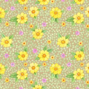 Gelbe Blumen auf Braun
