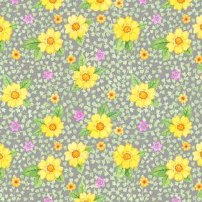 Gelbe Blumen auf Grau
