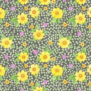 Gelbe Blumen auf Dunkelgrau