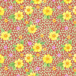 Gelbe Blumen auf Rot