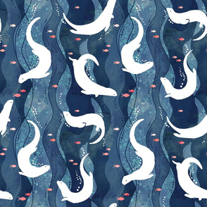 Swimming Otters Dark Blue