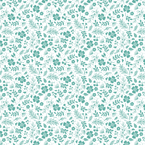 Timeless B - Tiny Floral - Teal fabric by malibu_creative on Spoonflower - custom fabric